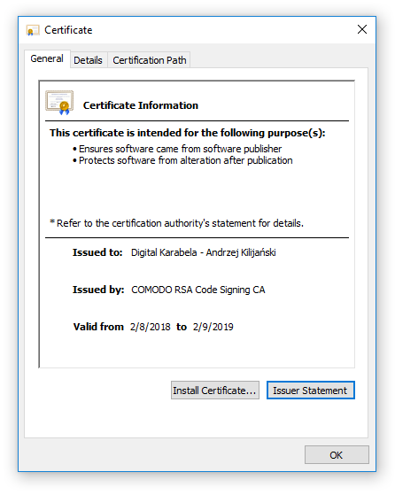 Agile Commander certificate General Properties